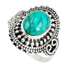 4.07cts natural green turquoise tibetan 925 silver solitaire ring size 7 r19450