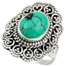 4.19cts natural green turquoise tibetan 925 silver solitaire ring size 7 r41626