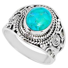 4.30cts natural green turquoise tibetan 925 silver solitaire ring size 7 r58306