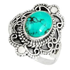 4.31cts natural green turquoise tibetan 925 silver solitaire ring size 8 r19457