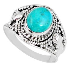 4.07cts natural green turquoise tibetan 925 silver solitaire ring size 9 r58311