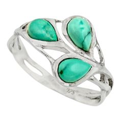 2.75cts natural green turquoise tibetan 925 sterling silver ring size 7.5 r25872