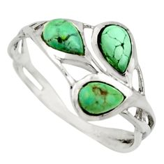2.96cts natural green turquoise tibetan 925 sterling silver ring size 8.5 r25873