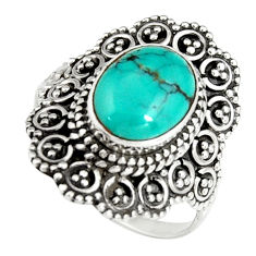 4.22cts natural green turquoise tibetan silver solitaire ring size 7.5 r19444
