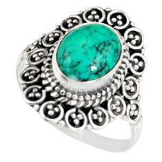 4.27cts natural green turquoise tibetan silver solitaire ring size 8.5 r19459