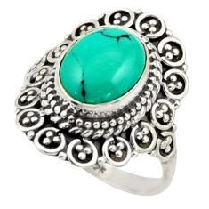 4.07cts natural green turquoise tibetan silver solitaire ring size 6.5 r41625