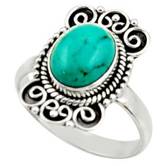 4.13cts natural green turquoise tibetan silver solitaire ring size 8.5 r52647