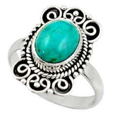 4.13cts natural green turquoise tibetan silver solitaire ring size 7.5 r52648