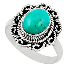 3.96cts natural green turquoise tibetan silver solitaire ring size 8.5 r52653