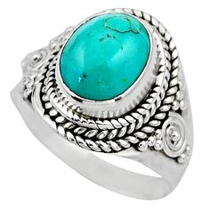 4.08cts natural green turquoise tibetan silver solitaire ring size 6.5 r53516