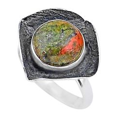 5.13cts natural green unakite 925 silver solitaire handmade ring size 7 t16033