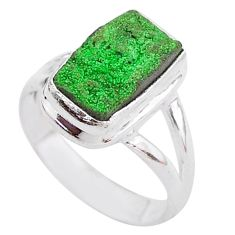 4.69cts natural green uvarovite garnet 925 silver solitaire ring size 6 t2011