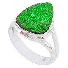 4.93cts natural green uvarovite garnet 925 silver solitaire ring size 6 t2019