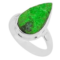 5.81cts natural green uvarovite garnet 925 silver solitaire ring size 6 t2029