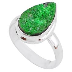 5.53cts natural green uvarovite garnet 925 silver solitaire ring size 7 t2014