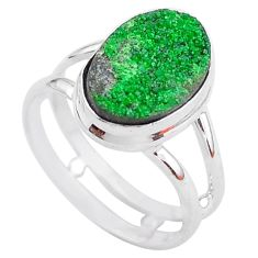 5.63cts natural green uvarovite garnet 925 silver solitaire ring size 7 t2016