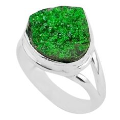 6.08cts natural green uvarovite garnet 925 silver solitaire ring size 7 t2023
