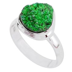 5.10cts natural green uvarovite garnet 925 silver solitaire ring size 8 t2020