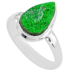 4.42cts natural green uvarovite garnet 925 silver solitaire ring size 8 t2021