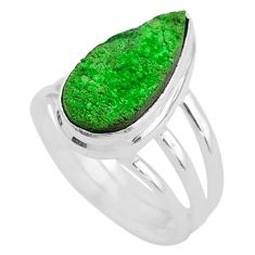 5.79cts natural green uvarovite garnet 925 silver solitaire ring size 8 t2039