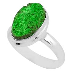 5.16cts natural green uvarovite garnet 925 silver solitaire ring size 8 t2040