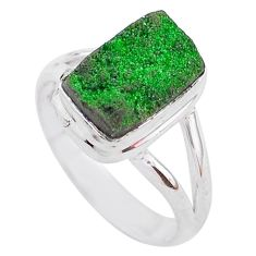 4.70cts natural green uvarovite garnet 925 silver solitaire ring size 8 t2057