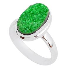 5.53cts natural green uvarovite garnet 925 silver solitaire ring size 9 t2005