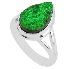 5.34cts natural green uvarovite garnet 925 silver solitaire ring size 9 t2022