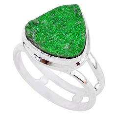 10.22cts natural green uvarovite garnet 925 silver solitaire ring size 6.5 t2001
