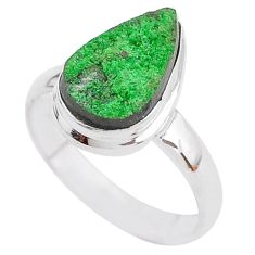 6.10cts natural green uvarovite garnet 925 silver solitaire ring size 8.5 t2002