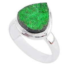 5.56cts natural green uvarovite garnet 925 silver solitaire ring size 6.5 t2003