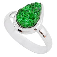 4.47cts natural green uvarovite garnet 925 silver solitaire ring size 8.5 t2006