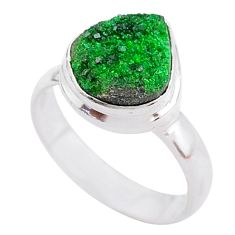 5.23cts natural green uvarovite garnet 925 silver solitaire ring size 7.5 t2007