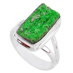 5.81cts natural green uvarovite garnet 925 silver solitaire ring size 7.5 t2009