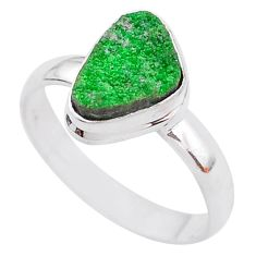 4.82cts natural green uvarovite garnet 925 silver solitaire ring size 9.5 t2012
