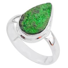 5.23cts natural green uvarovite garnet 925 silver solitaire ring size 6.5 t2015