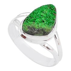 5.63cts natural green uvarovite garnet 925 silver solitaire ring size 9.5 t2017