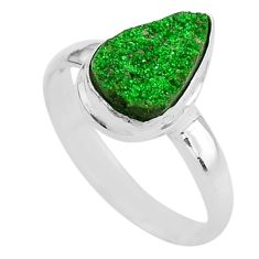 4.26cts natural green uvarovite garnet 925 silver solitaire ring size 9.5 t2026