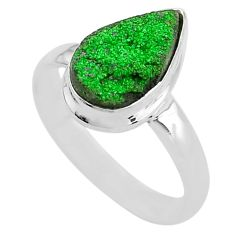 4.82cts natural green uvarovite garnet 925 silver solitaire ring size 8.5 t2027