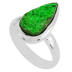 5.38cts natural green uvarovite garnet 925 silver solitaire ring size 7.5 t2030