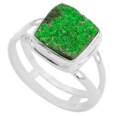 4.92cts natural green uvarovite garnet 925 silver solitaire ring size 7.5 t2031
