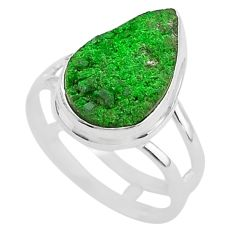 6.10cts natural green uvarovite garnet 925 silver solitaire ring size 7.5 t2032