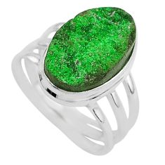 7.04cts natural green uvarovite garnet 925 silver solitaire ring size 7.5 t2034