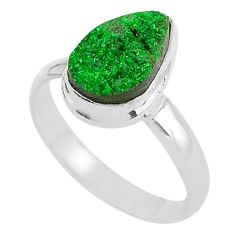 4.69cts natural green uvarovite garnet 925 silver solitaire ring size 9.5 t2036