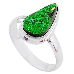 5.54cts natural green uvarovite garnet 925 silver solitaire ring size 9.5 t2058
