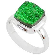 4.70cts natural green uvarovite garnet 925 sterling silver ring size 7.5 t2055