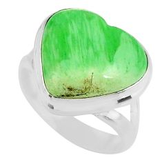 10.31cts natural green variscite 925 silver solitaire ring jewelry size 6 r83622