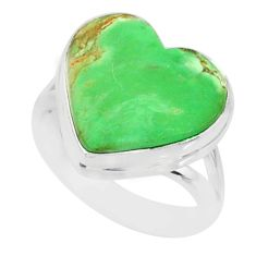 9.04cts natural green variscite 925 silver solitaire ring jewelry size 6 r84623
