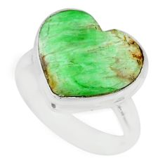 8.07cts natural green variscite 925 silver solitaire ring jewelry size 6 r84633