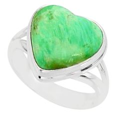6.98cts natural green variscite 925 silver solitaire ring jewelry size 6 r84682